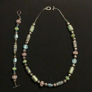 Jewelry - Glass beaded necklace and bracelet.